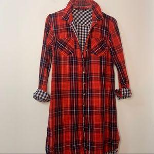 Red Black Blue & White Plaid Long Sleeve Tunic